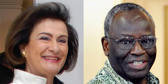 (Left to right) Haifa Fahoum Al Kaylani, Founding Chair, Arab International Women's Forum; I‌brahim Gambari, former Foreign Affairs Minister, Nigeria, and UN Under-Secretary- General for Political Affairs